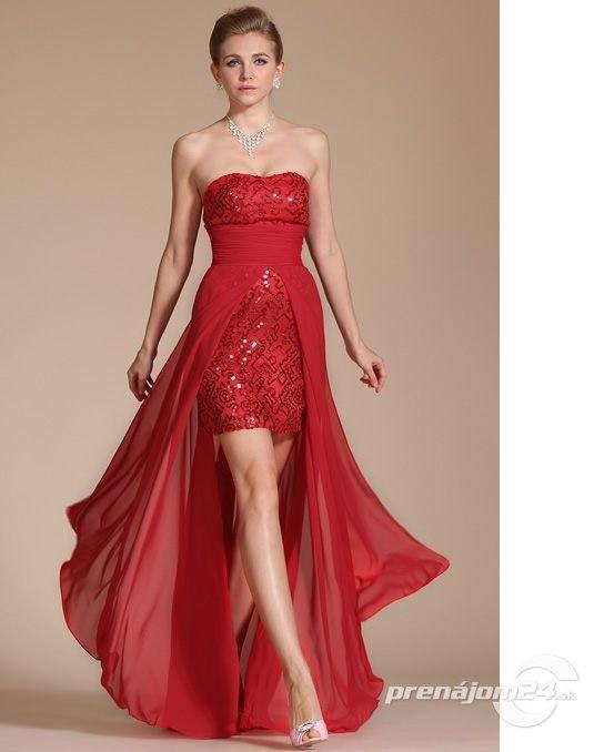 beb57ee2b22a Asymetrické ohnivo červené šaty bez ramienok