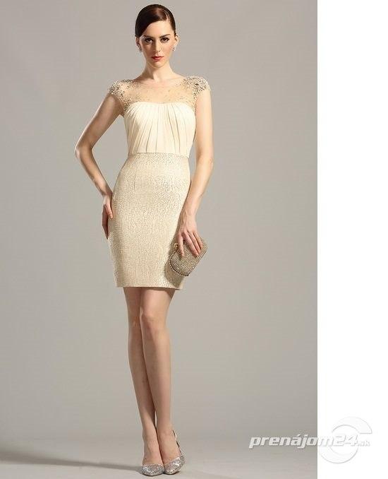 Elegantné zlaté puzdrové šaty e94c31cd081