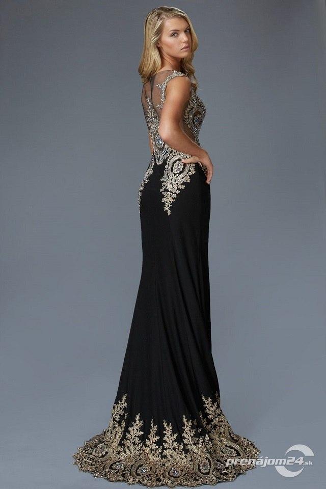 34b5b86c7259 Luxusné čierne šaty s vlečkou