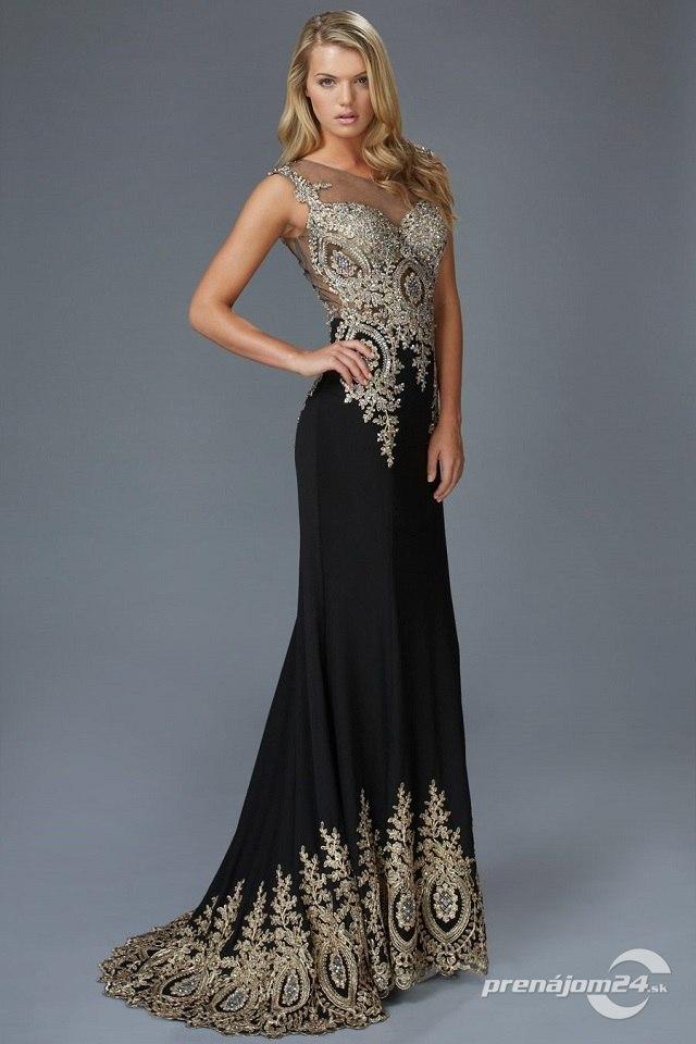 c4253f15c Luxusné čierne šaty s vlečkou