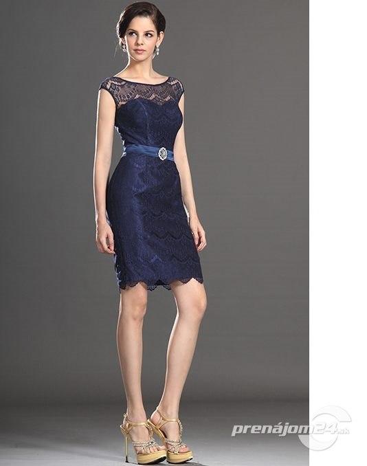 Tmavomodré šaty s čipkou 387e16642e9