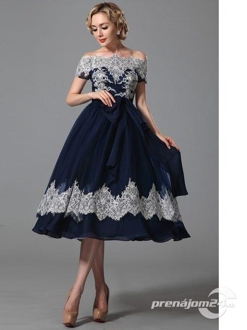 8c47251dafc8 Vintage modré spoločenské šaty