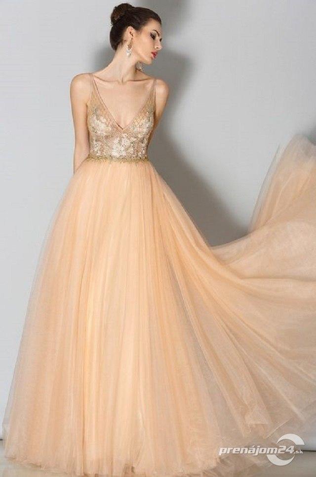 fa0e85d23689 Zlaté tylové spoločenské šaty